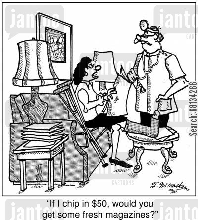 magazine subscriptions cartoon humor: 'If I chip in $50, would you get some fresh magazines?'