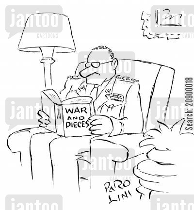 piece cartoon humor: 'War and Pieces.'