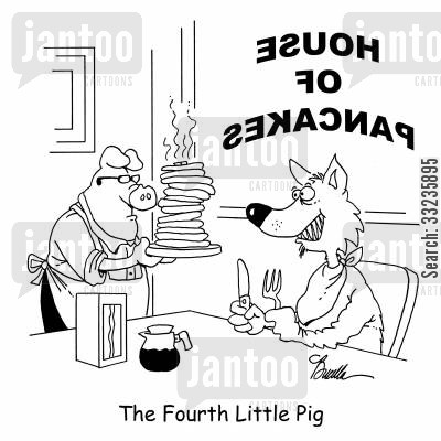 overeats cartoon humor: The Fourth Little Pig