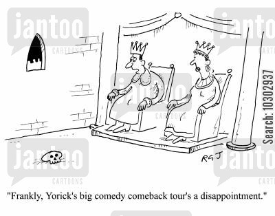 plays cartoon humor: 'Frankly, Yorick's big comedy comeback tour's a disappointment.'