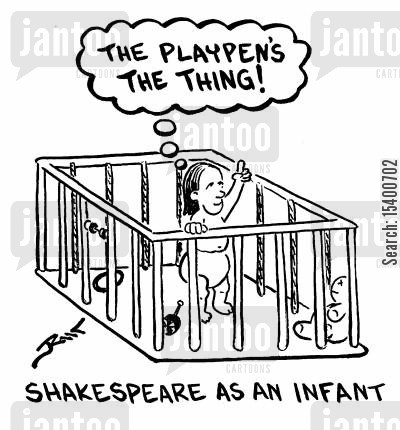 shakespeare cartoon humor: Shakespeare as an Infant