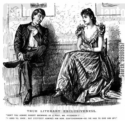 conformist cartoon humor: A man and a woman discussing poetry