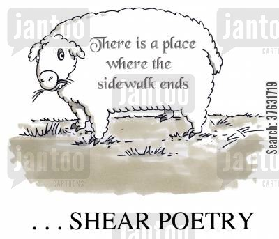 grasses cartoon humor: Shear Poetry,,,poem sheared into sheep wool,