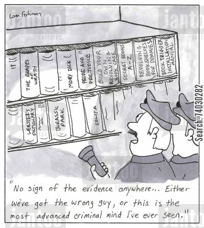 rotating cartoon humor: Cops overlooking an obvious revolving bookcase.