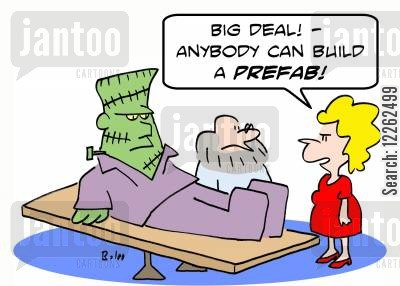 mary shelley cartoon humor: 'Big deal! -- anybody can build a prefab!'
