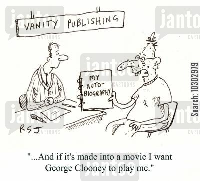 biographies cartoon humor: Vanity Publishing.