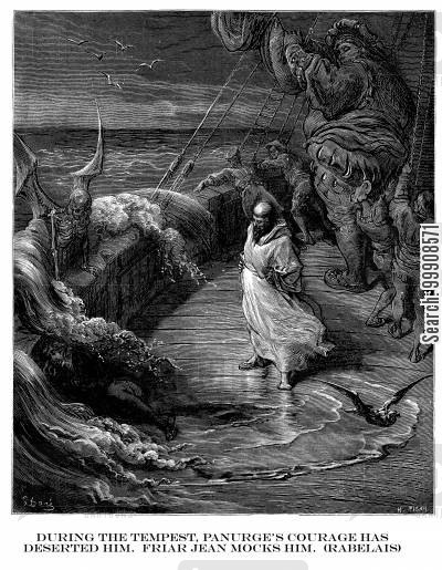 gargantua cartoon humor: During the Tempest, Panurge's Courage has Deserted Him. Friar Jean Mocks Him (Rabelais).