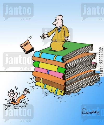 book worms cartoon humor: Drowning Man Thrown A Book.