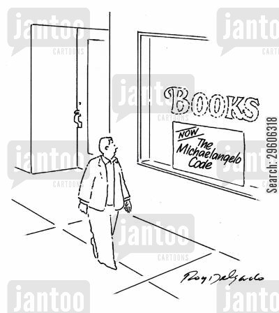 book stores cartoon humor: The Michaelangelo Code.