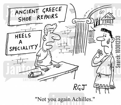 shoe repairs cartoon humor: Not you again, Achilles.
