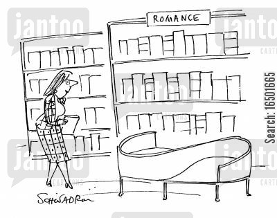 love seats cartoon humor: Romance Section in the Library