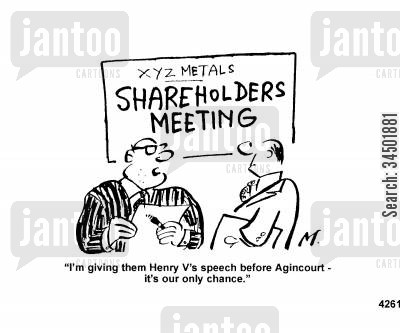 pep talk cartoon humor: I'm giving them Henry V's speech before Agincourt...
