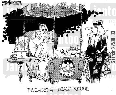 a christmas carol cartoon humor: The Ghost of Legacy Future.