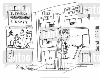 selfhelp cartoon humor: At a business management library one section is labelled 'self-help' another is 'outsource others.'