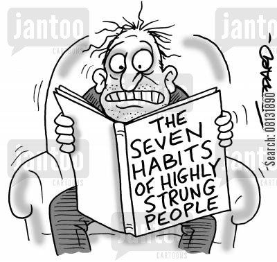 books cartoon humor: 'The Seven Habits of Highly Strung People.'