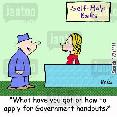 bookshop cartoon humor: 'What have you got on how to apply for Government handouts?'