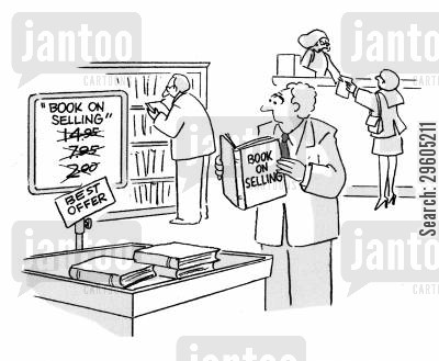 book stores cartoon humor: Book on selling.