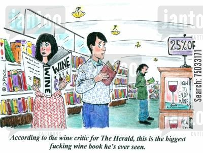 bookstore cartoon humor: 'According to the wine critic for The Herald, this is the biggest fucking wine book he's ever seen.'