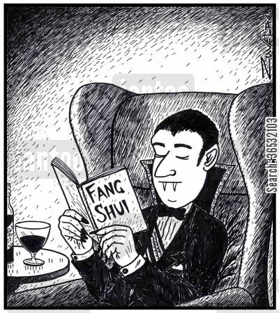 educated cartoon humor: Visual Gag: Dracula reading a Fang Shui book. The Vampires version of 'Feng' Shui