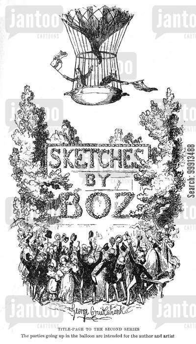 balloons cartoon humor: Sketches by Boz - Title page to the second series