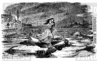 abolitionist cartoon humor: Uncle Tom's Cabin - Eliza Crosses the Floating Ice on the Ohio River