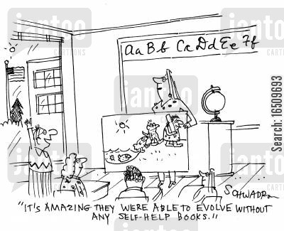 selfhelp books cartoon humor: 'It's amazing they were able to evolve without any self-help books.'