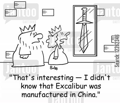 english classes cartoon humor: 'That's interesting -- I didn't know that Excalibur was manufactured in China.'
