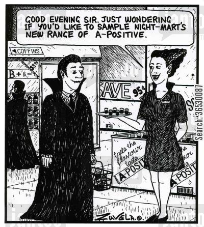 drinking blood cartoon humor: 'Good evening sir.Just wondering if you'd like to sample Night-Mart's new range of A-positive.'