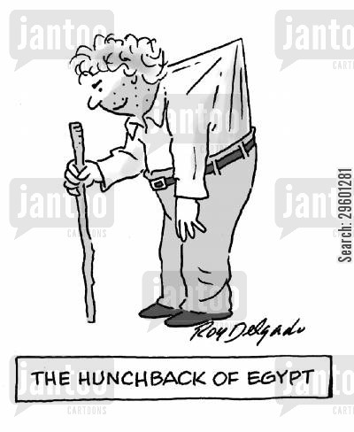 pyramid cartoon humor: The hunchback of Egypt.