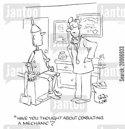 baum cartoon humor: 'Have you thought about consulting a mechanic?'