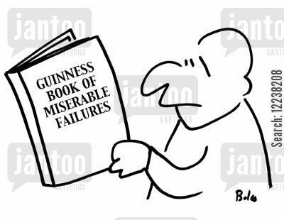 guinness cartoon humor: Guinness Book of Miserable Failures.