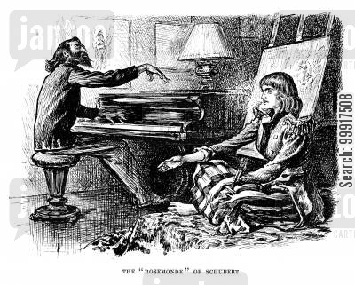 george dumaurier cartoon humor: Trilby - The 'Rosemonde' of Schubert.