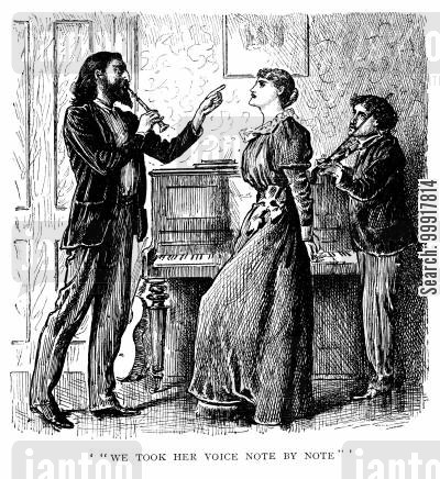 bohemian cartoon humor: Trilby - 'We took her voice note by note'.