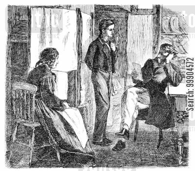 victorian home cartoon humor: Illustration from 'The Artist's Son'.