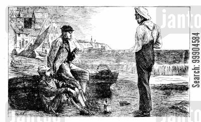 victorian sailors cartoon humor: Illustration for 'A Wrinkle for the Coastguard'.