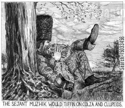 picnics cartoon humor: 'The sejant muzhik would tiffin on colza and clupeids.'