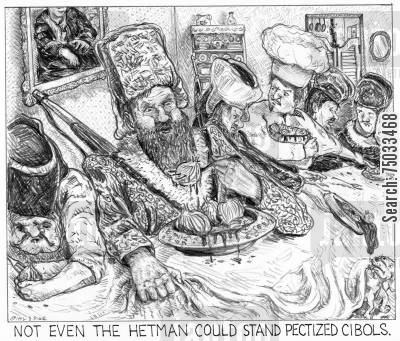 literary cartoon humor: 'Not even the hetman could stand pectized cibols.'