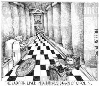 properties cartoon humor: 'The ladykin lived in a mickle biggin of cipolin.'