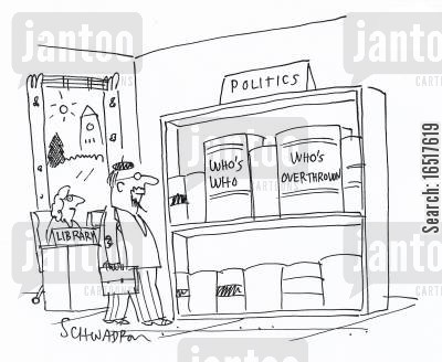 labour party cartoon humor: Politics book shelf