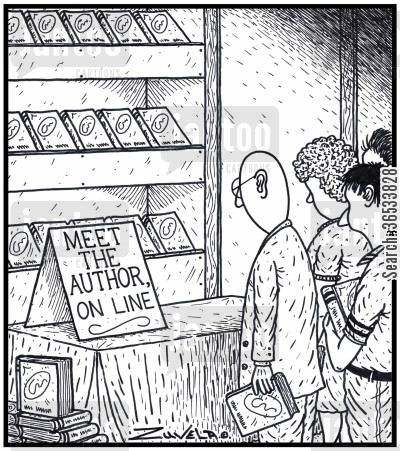 book club cartoon humor: Meet the Author Online.