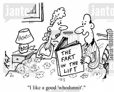 detective stories cartoon humor: I like a good whodunit.