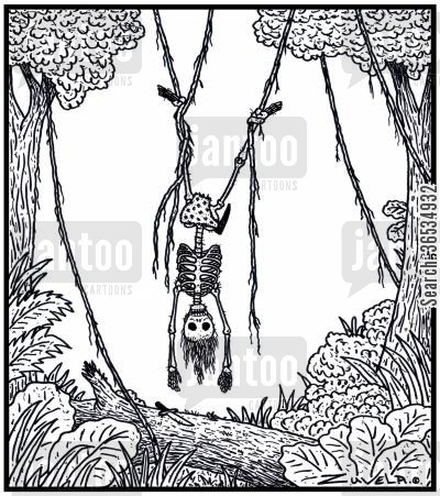 dropped cartoon humor: Tarzan is dead having gotten tangled up in the vines and out of reach from his dropped knife