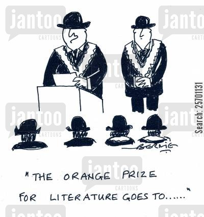 award ceremonies cartoon humor: 'The Orange Prize for Literature goes to...'