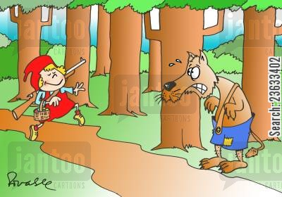 modernization cartoon humor: Little Red Riding Hood Packs a Gun.