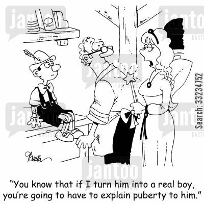 fairy godmother cartoon humor: 'You know that if I turn him into a real boy, you're going to have to explain puberty to him.'