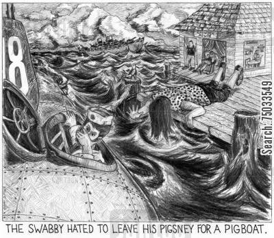 ports cartoon humor: 'The swabby hated to leave is pigsney for a pigboat.'
