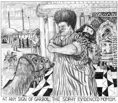 sultan cartoon humor: 'At any sign of garboil, the sophy evidenced momism.'