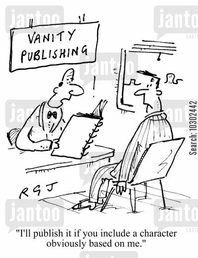 publishes cartoon humor: 'I'll publish it if you include a character obviously based on me.'