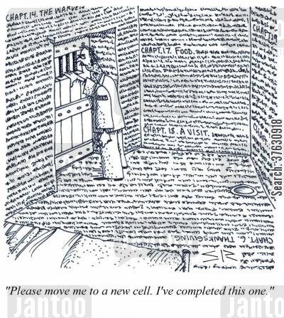 memoirs cartoon humor: 'Please move me to a new cell, I've completed this one,'