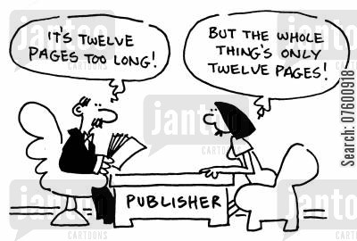 publishing agencies cartoon humor: Aspiring author at the publishing house